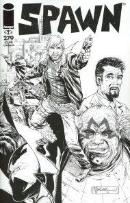 Spawn #279 Todd MacFarlane Walking Dead Tribute 115 Tribute Black & White Variant Cover
